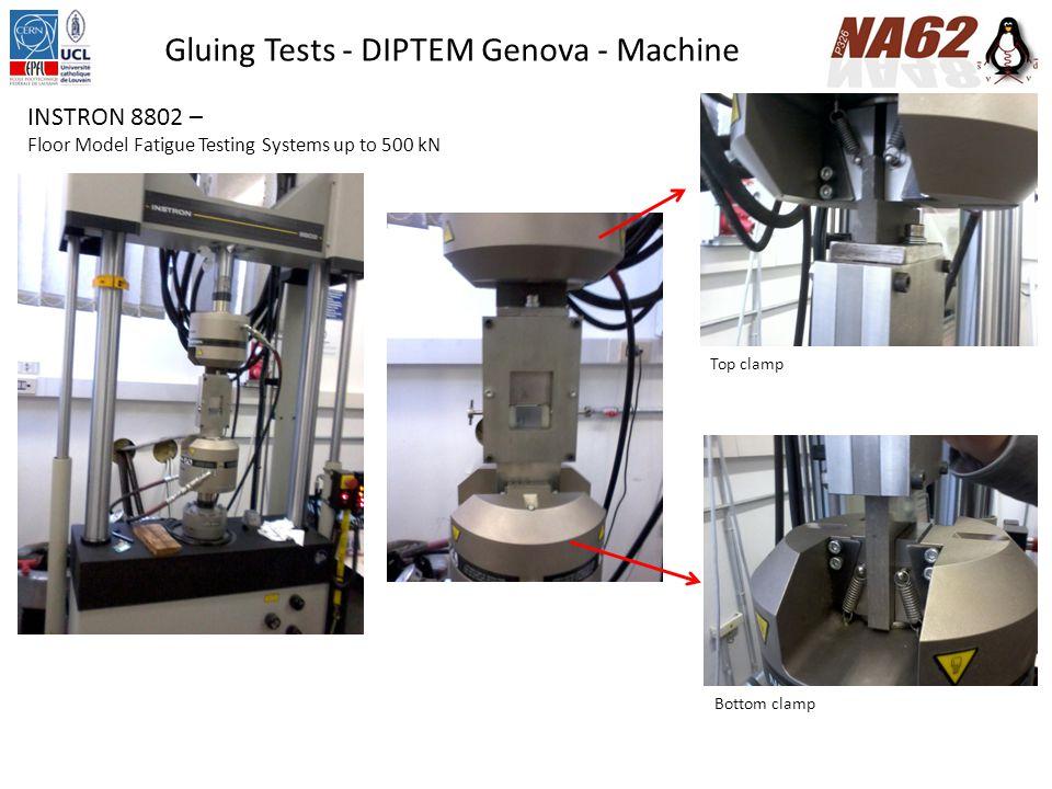 Gluing Tests - DIPTEM Genova - Results Preliminary test of the tool Etichetta provinoLarghezza (mm) Spessore (mm) 101 Nitto10,00000 202 Nitto10,00000 303 Nitto10,00000 Velocità di prova (mm/min) Forza massima (N) Carico massimo (MPa) 11,30000140,738491,407 21,30000116,318461,163 31,30000163,829331,638