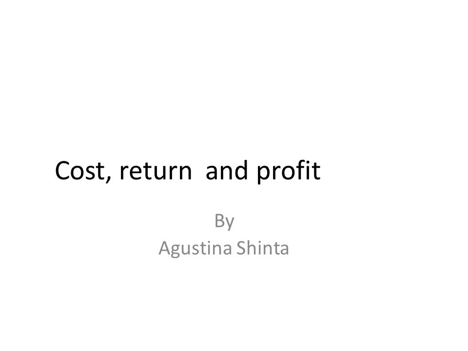 Cost, return and profit By Agustina Shinta