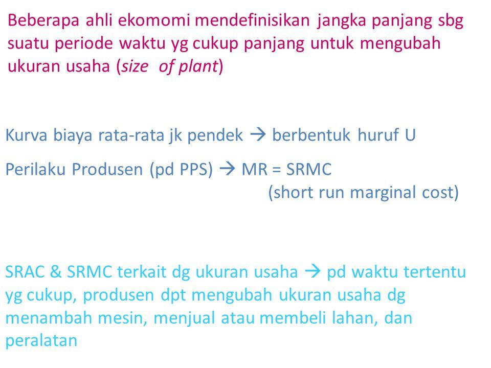 Beberapa ahli ekomomi mendefinisikan jangka panjang sbg suatu periode waktu yg cukup panjang untuk mengubah ukuran usaha (size of plant) Kurva biaya r