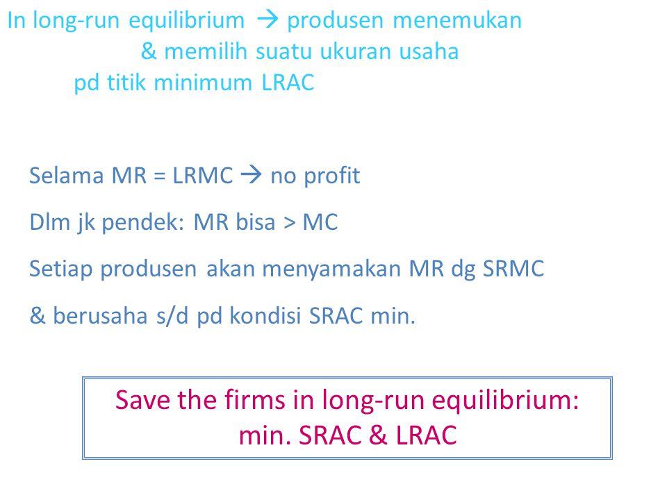 In long-run equilibrium  produsen menemukan & memilih suatu ukuran usaha pd titik minimum LRAC Selama MR = LRMC  no profit Dlm jk pendek: MR bisa > MC Setiap produsen akan menyamakan MR dg SRMC & berusaha s/d pd kondisi SRAC min.