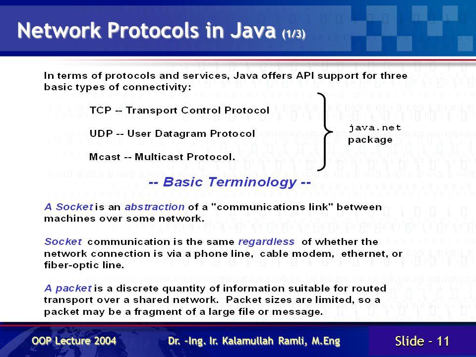 Slide - 11 OOP Lecture 2004 Dr. –Ing. Ir. Kalamullah Ramli, M.Eng Network Protocols in Java (1/3)