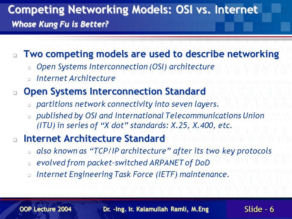 Slide - 6 OOP Lecture 2004 Dr. –Ing. Ir. Kalamullah Ramli, M.Eng Competing Networking Models: OSI vs. Internet Whose Kung Fu is Better?  Two competin