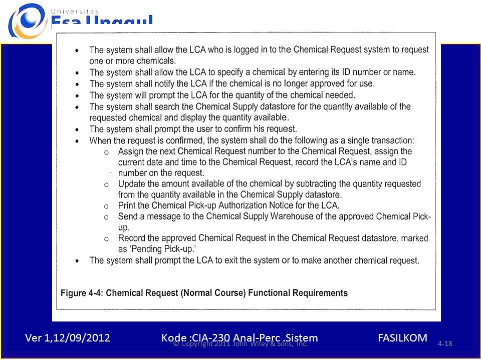 Ver 1,12/09/2012Kode :CIA-230 Anal-Perc.SistemFASILKOM Example © Copyright 2011 John Wiley & Sons, Inc.4-18