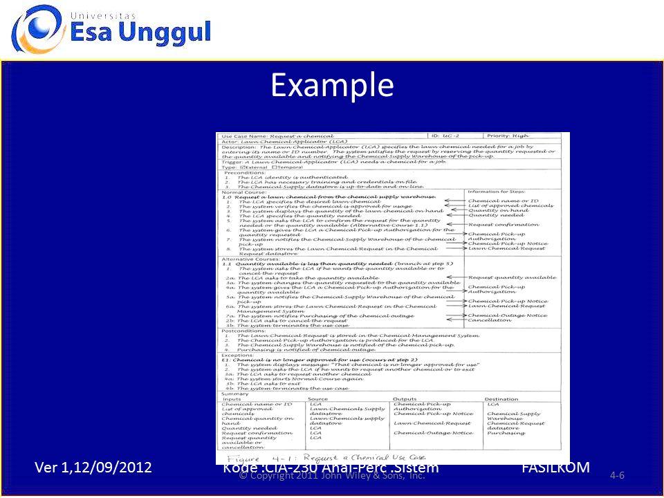 Ver 1,12/09/2012Kode :CIA-230 Anal-Perc.SistemFASILKOM Example © Copyright 2011 John Wiley & Sons, Inc.4-6