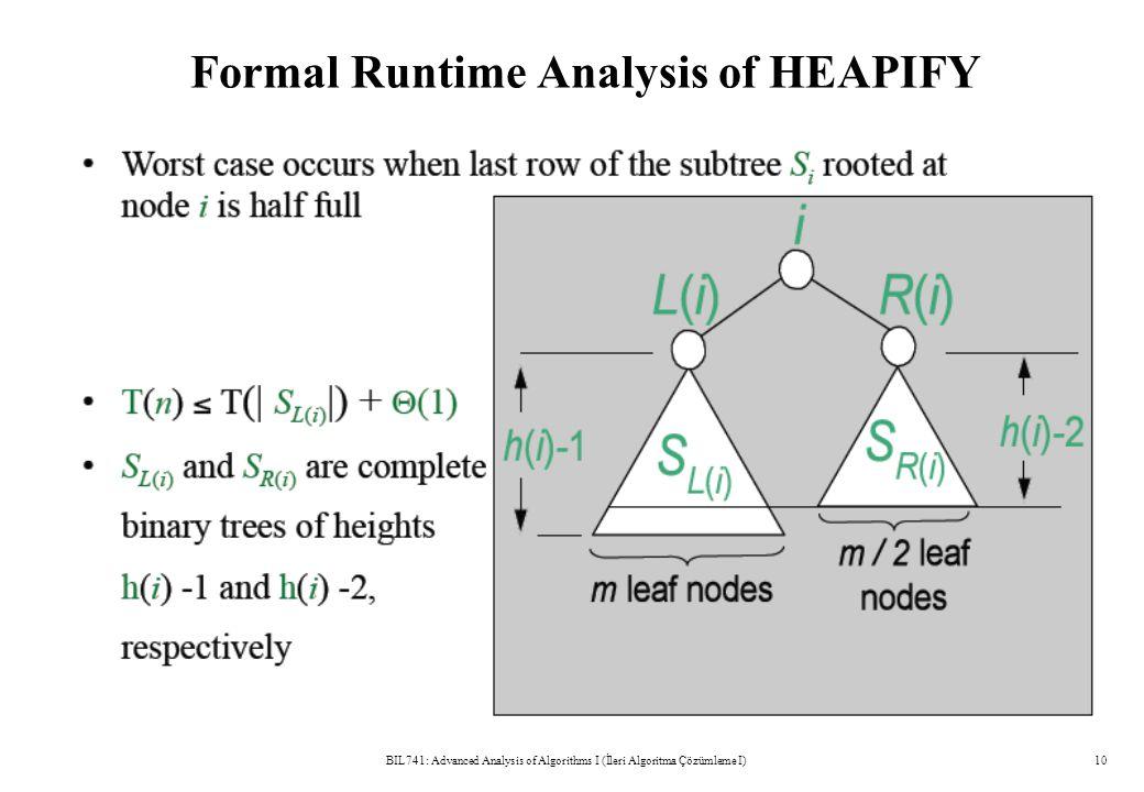Formal Runtime Analysis of HEAPIFY BIL741: Advanced Analysis of Algorithms I (İleri Algoritma Çözümleme I)10