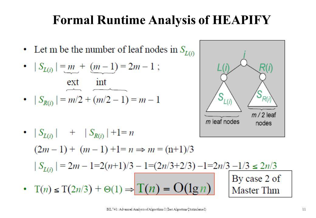 Formal Runtime Analysis of HEAPIFY BIL741: Advanced Analysis of Algorithms I (İleri Algoritma Çözümleme I)11