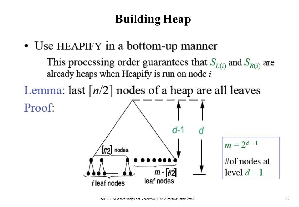 Building Heap BIL741: Advanced Analysis of Algorithms I (İleri Algoritma Çözümleme I)12