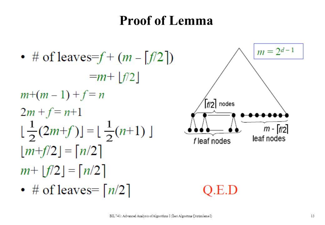 Proof of Lemma BIL741: Advanced Analysis of Algorithms I (İleri Algoritma Çözümleme I)13