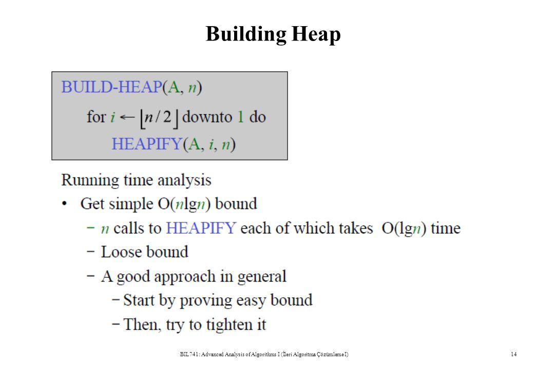 Building Heap BIL741: Advanced Analysis of Algorithms I (İleri Algoritma Çözümleme I)14