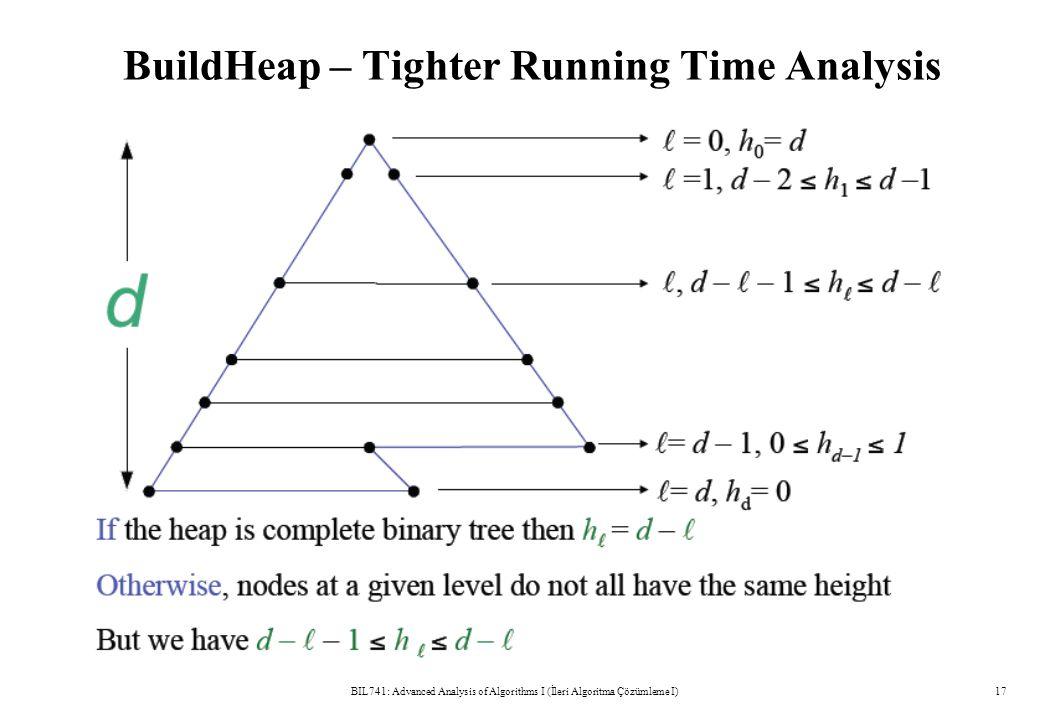 BuildHeap – Tighter Running Time Analysis BIL741: Advanced Analysis of Algorithms I (İleri Algoritma Çözümleme I)17