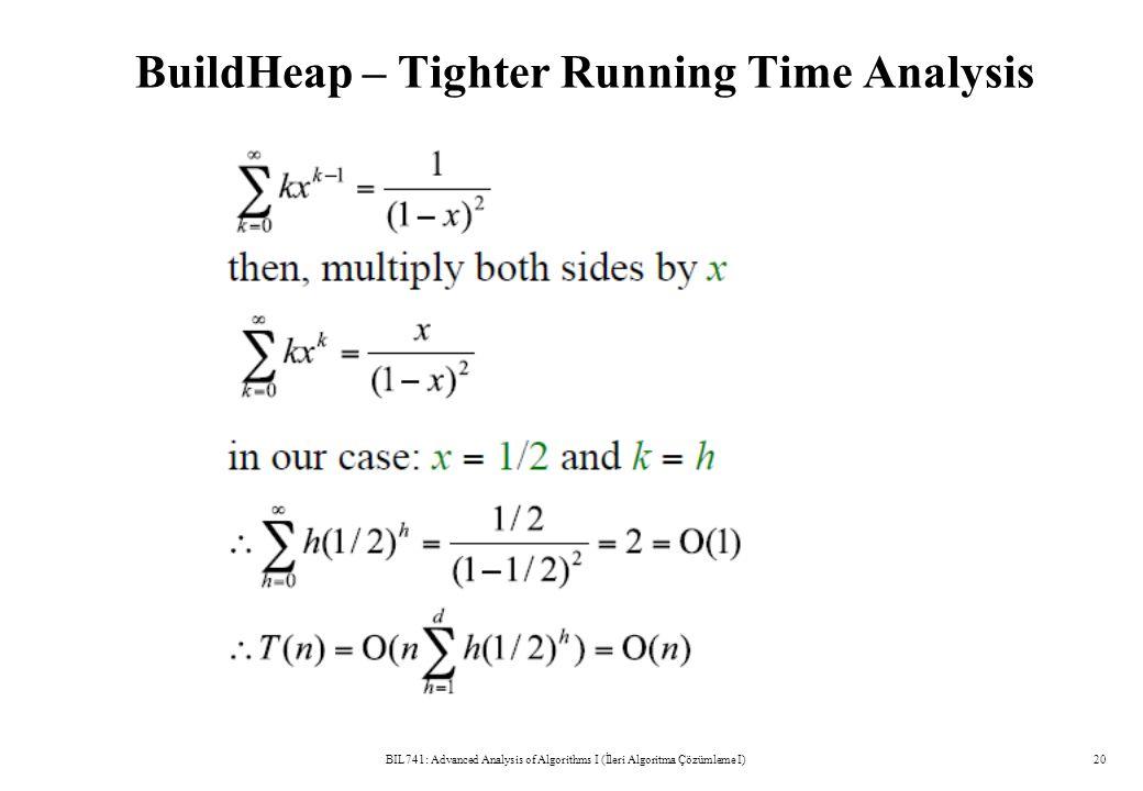 BuildHeap – Tighter Running Time Analysis BIL741: Advanced Analysis of Algorithms I (İleri Algoritma Çözümleme I)20