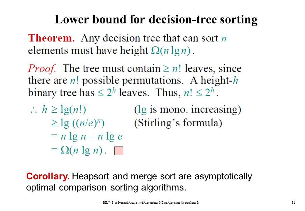 Lower bound for decision-tree sorting BIL741: Advanced Analysis of Algorithms I (İleri Algoritma Çözümleme I)31 Corollary. Heapsort and merge sort are