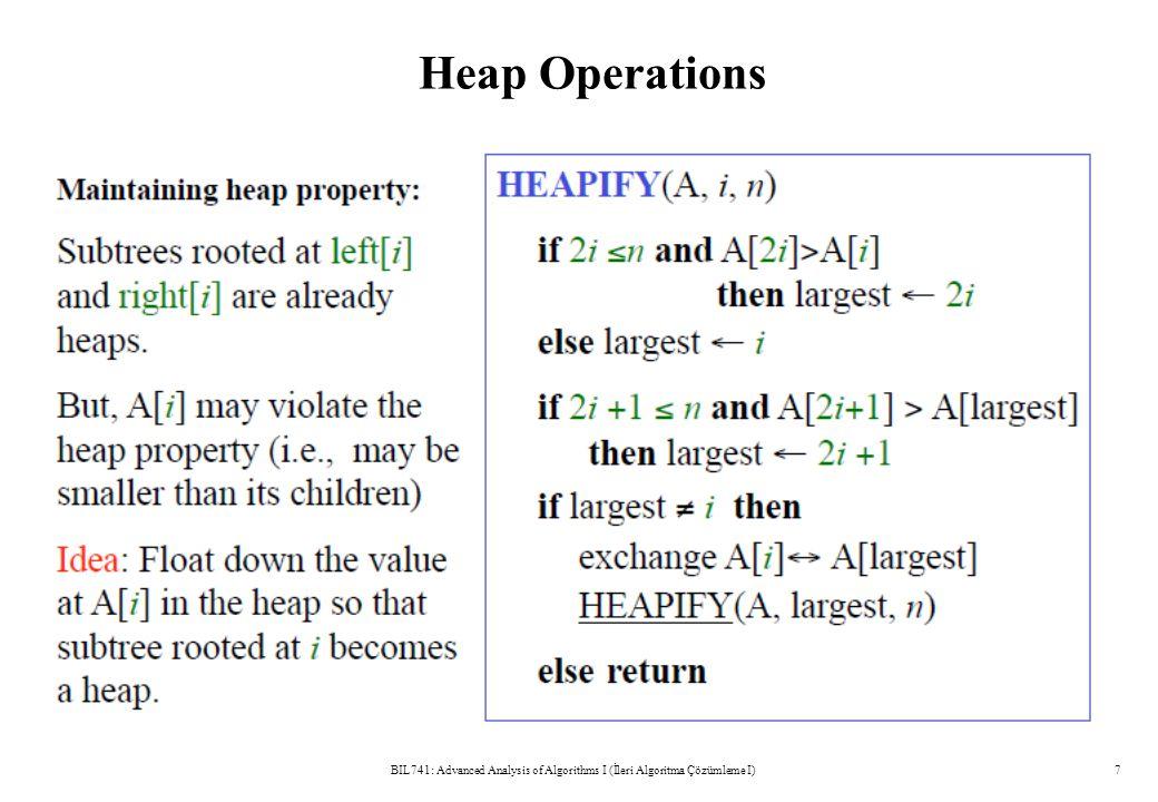 Heap Operations BIL741: Advanced Analysis of Algorithms I (İleri Algoritma Çözümleme I)7