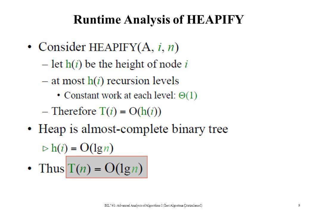 Runtime Analysis of HEAPIFY BIL741: Advanced Analysis of Algorithms I (İleri Algoritma Çözümleme I)9