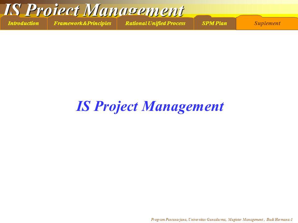 IS Project Management Program Pascasarjana, Universitas Gunadarma, Magister Management, Budi Hermana-1 IntroductionFramework&PrinciplesRational Unifie