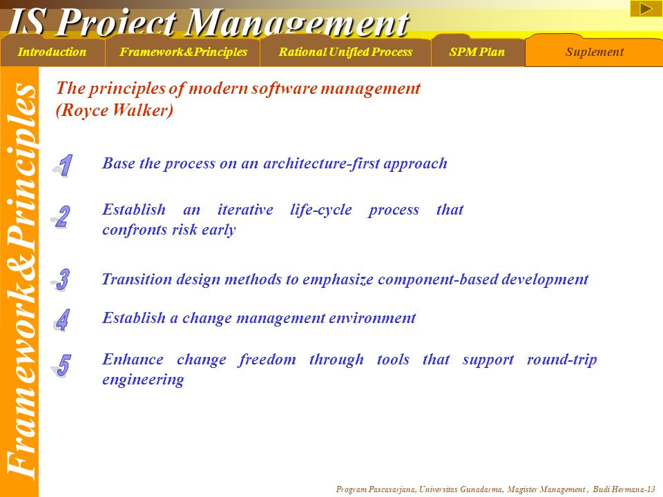 IS Project Management Program Pascasarjana, Universitas Gunadarma, Magister Management, Budi Hermana-13 IntroductionFramework&PrinciplesRational Unified ProcessSPM PlanSuplement The principles of modern software management (Royce Walker) Base the process on an architecture-first approach Establish an iterative life-cycle process that confronts risk early Transition design methods to emphasize component-based development Establish a change management environment Enhance change freedom through tools that support round-trip engineering Framework&Principles