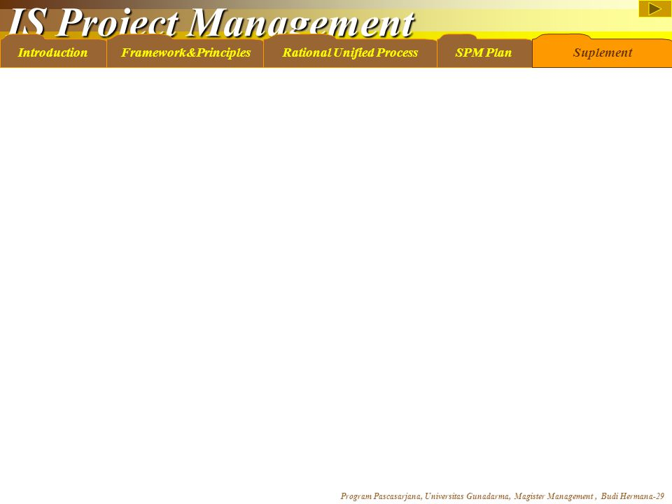 IS Project Management Program Pascasarjana, Universitas Gunadarma, Magister Management, Budi Hermana-29 IntroductionFramework&PrinciplesRational Unifi