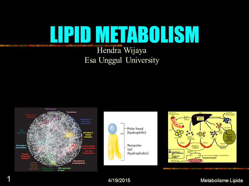 LIPID METABOLISM 4/19/2015 1 Metabolisme Lipida Hendra Wijaya Esa Unggul University