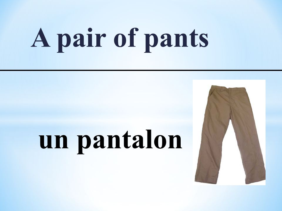 A pair of pants un pantalon