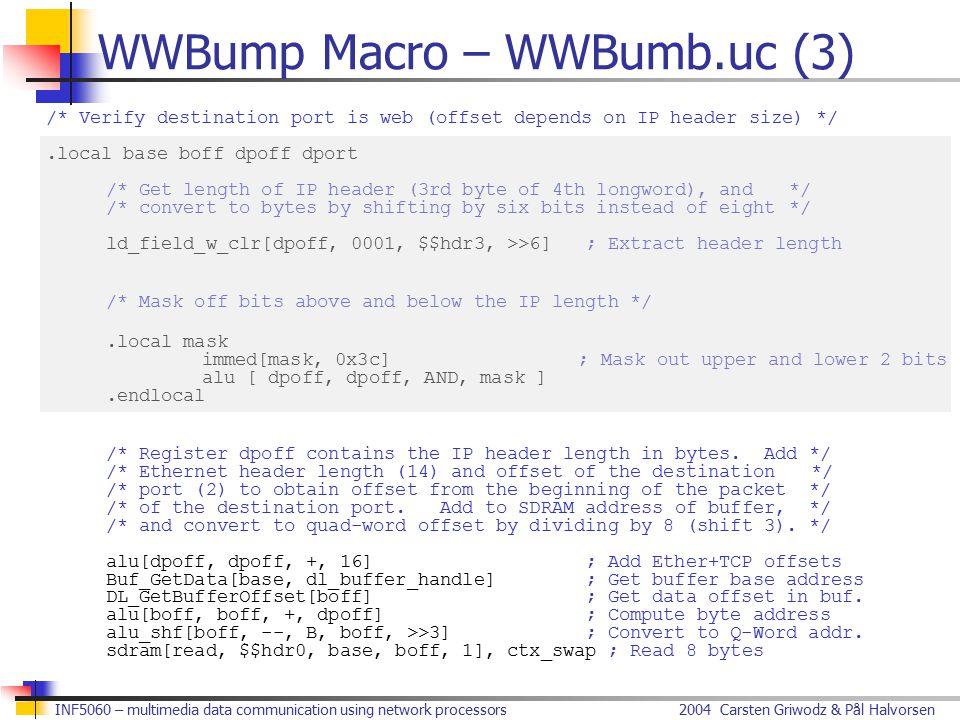 2004 Carsten Griwodz & Pål HalvorsenINF5060 – multimedia data communication using network processors WWBump Macro – WWBumb.uc (3) /* Verify destinatio