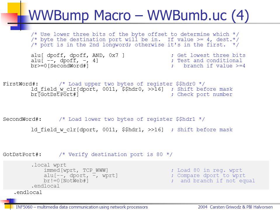 2004 Carsten Griwodz & Pål HalvorsenINF5060 – multimedia data communication using network processors WWBump Macro – WWBumb.uc (4) /* Use lower three b