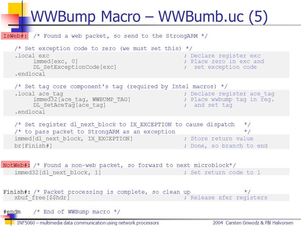 2004 Carsten Griwodz & Pål HalvorsenINF5060 – multimedia data communication using network processors WWBump Macro – WWBumb.uc (5) IsWeb#:/* Found a we