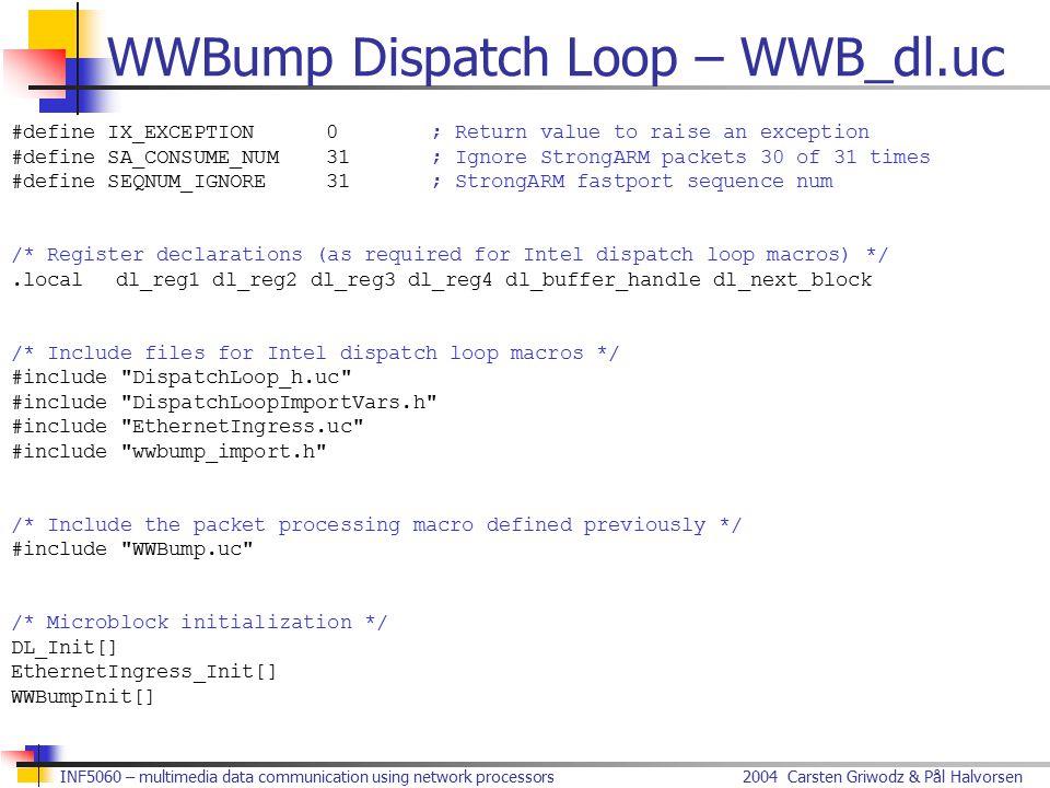 2004 Carsten Griwodz & Pål HalvorsenINF5060 – multimedia data communication using network processors WWBump Dispatch Loop – WWB_dl.uc #define IX_EXCEP