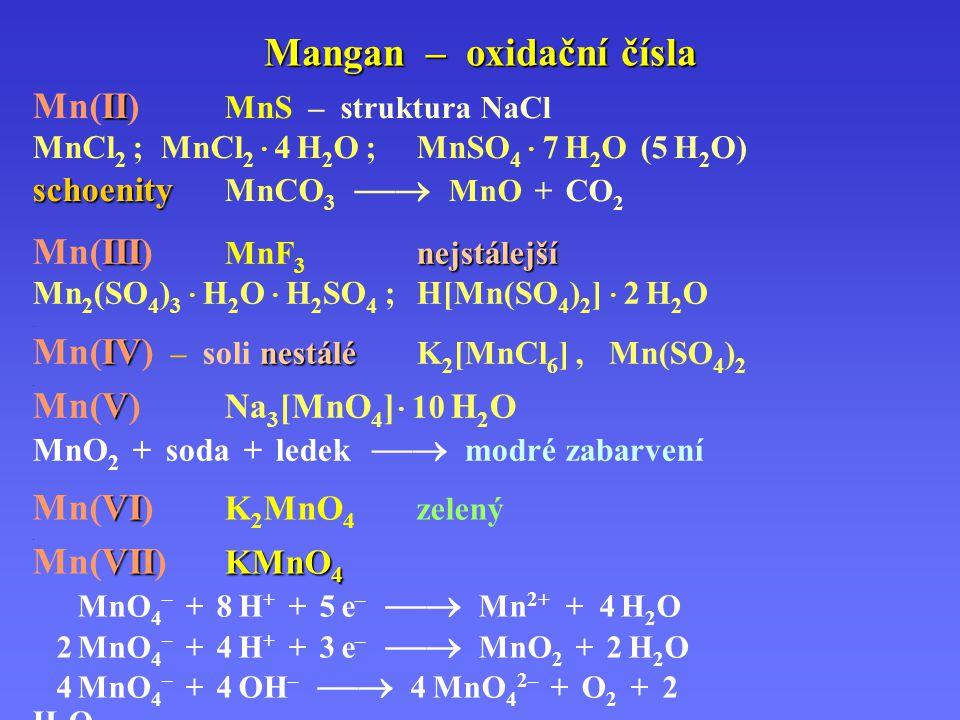 Mangan – oxidační čísla VI Mn(VI) K 2 MnO 4 zelený.