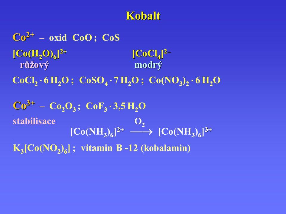 Kobalt Co 2 + Co 2 + – oxid CoO ; CoS.