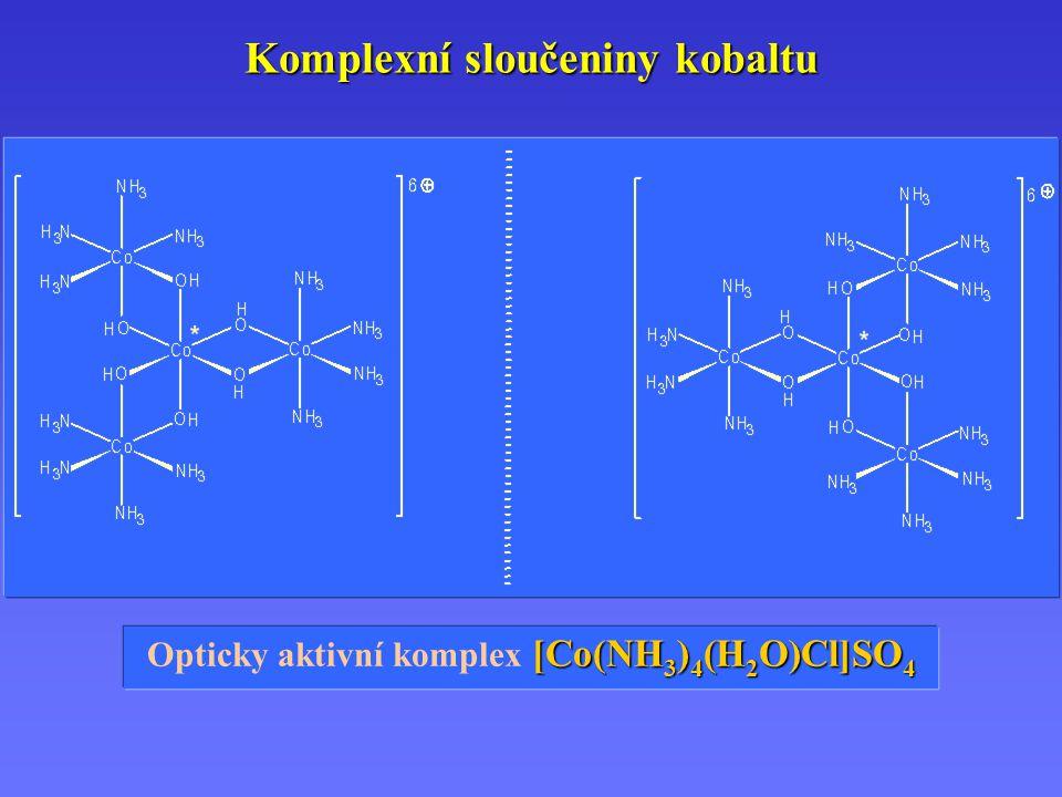 Komplexní sloučeniny kobaltu [Co(NH 3 ) 4 (H 2 O)Cl]SO 4 Opticky aktivní komplex [Co(NH 3 ) 4 (H 2 O)Cl]SO 4