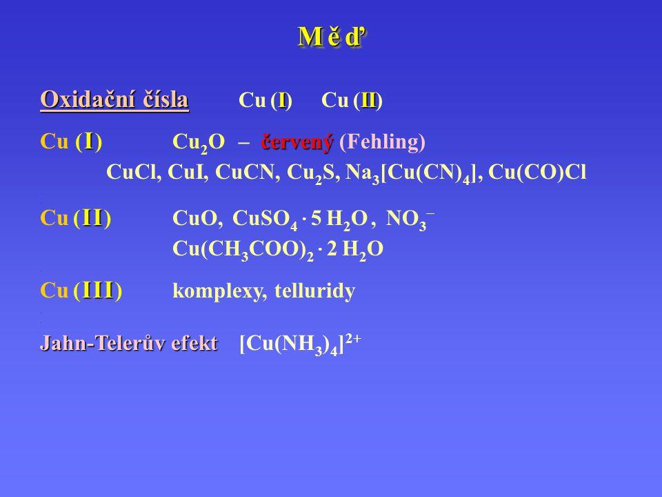 M ě ďM ě ďM ě ďM ě ď M ě ďM ě ďM ě ďM ě ď Oxidační čísla III Oxidační čísla Cu (I) Cu (II).