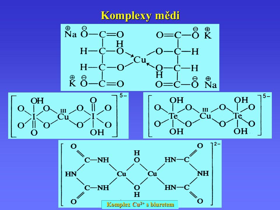 2 –2 – Komplexy mědi Komplex Cu 2+ s biuretem 5 –5 – 5 –5 –
