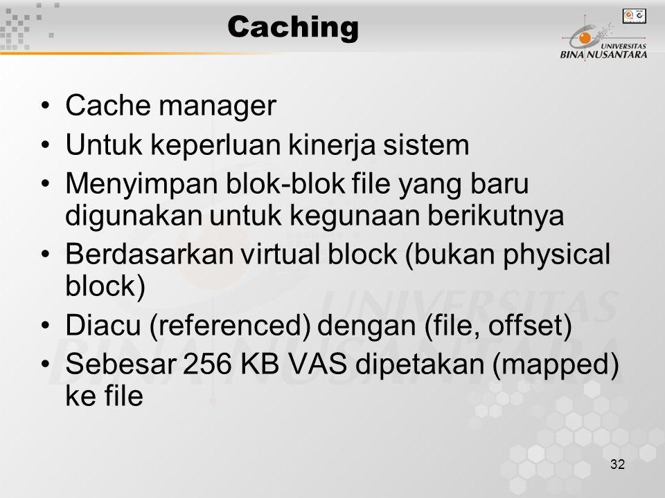 32 Caching Cache manager Untuk keperluan kinerja sistem Menyimpan blok-blok file yang baru digunakan untuk kegunaan berikutnya Berdasarkan virtual block (bukan physical block) Diacu (referenced) dengan (file, offset) Sebesar 256 KB VAS dipetakan (mapped) ke file