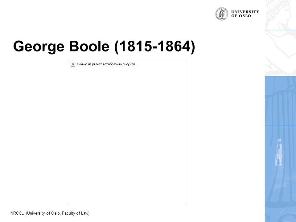 NRCCL (University of Oslo, Faculty of Law) George Boole (1815-1864)