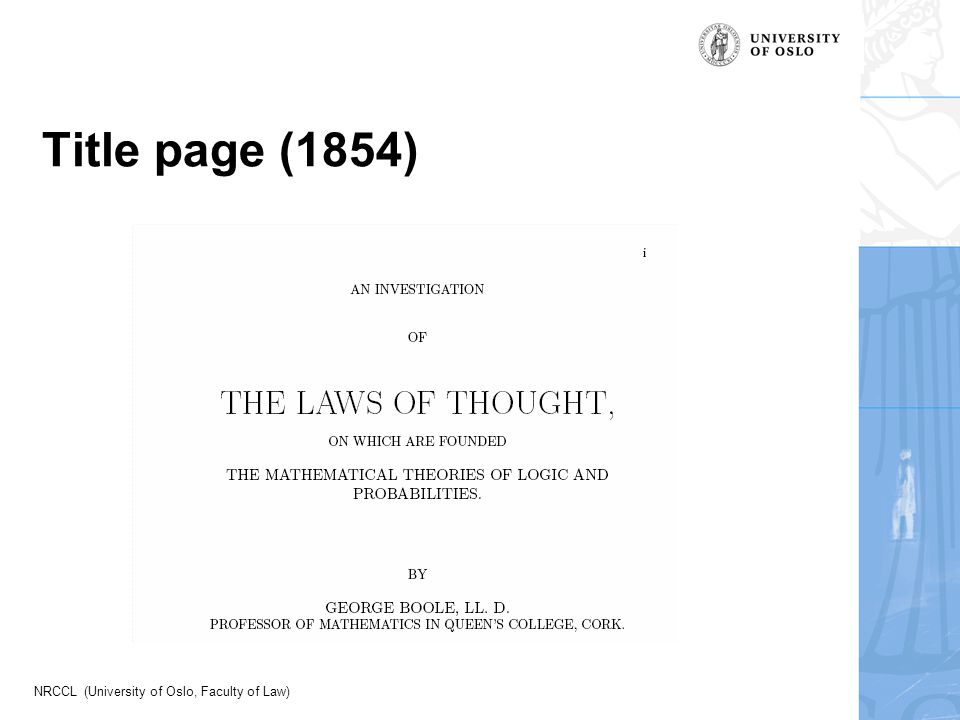 NRCCL (University of Oslo, Faculty of Law) Title page (1854)