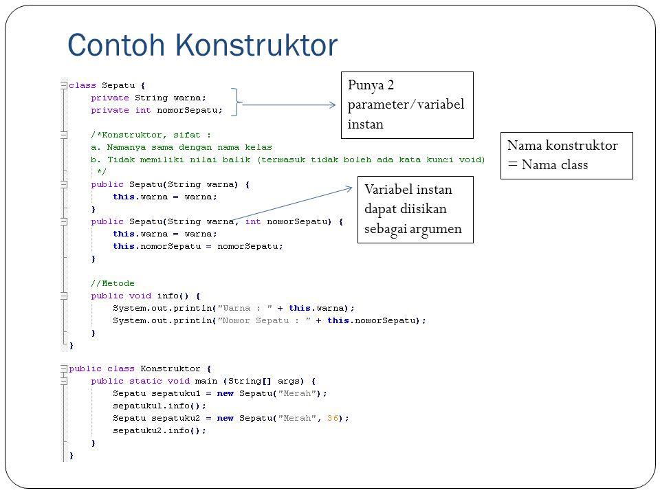 Contoh Konstruktor Punya 2 parameter/variabel instan Variabel instan dapat diisikan sebagai argumen Nama konstruktor = Nama class