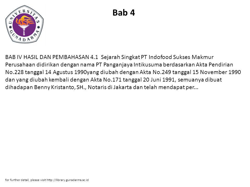 Bab 4 BAB IV HASIL DAN PEMBAHASAN 4.1 Sejarah Singkat PT Indofood Sukses Makmur Perusahaan didirikan dengan nama PT Panganjaya Intikusuma berdasarkan