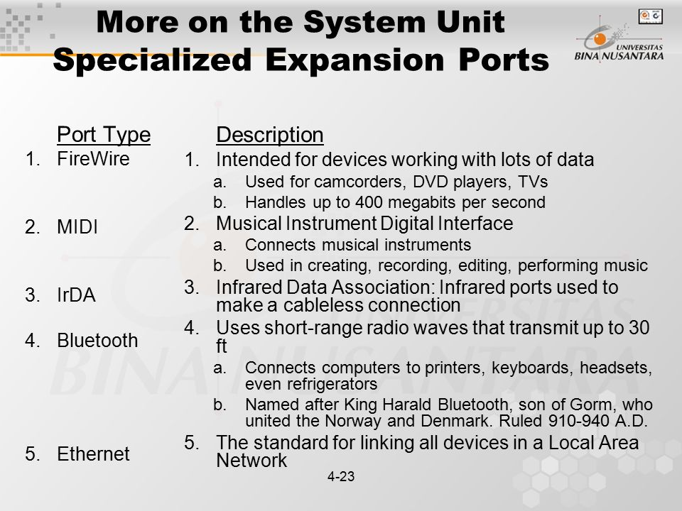 4-23 More on the System Unit Specialized Expansion Ports Port Type 1.FireWire 2.MIDI 3.IrDA 4.Bluetooth 5.Ethernet Description 1.Intended for devices working with lots of data a.Used for camcorders, DVD players, TVs b.Handles up to 400 megabits per second 2.Musical Instrument Digital Interface a.Connects musical instruments b.Used in creating, recording, editing, performing music 3.Infrared Data Association: Infrared ports used to make a cableless connection 4.Uses short-range radio waves that transmit up to 30 ft a.Connects computers to printers, keyboards, headsets, even refrigerators b.Named after King Harald Bluetooth, son of Gorm, who united the Norway and Denmark.