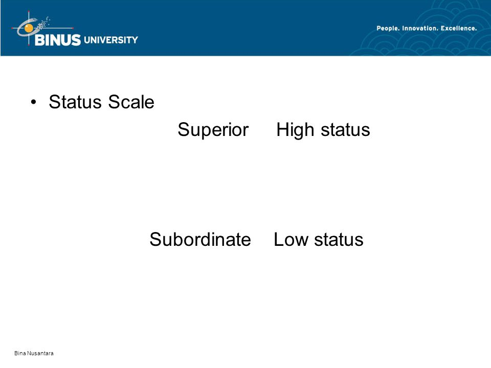 Bina Nusantara Status Scale Superior High status Subordinate Low status