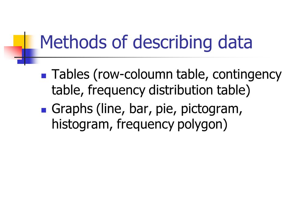 Methods of describing data Tables (row-coloumn table, contingency table, frequency distribution table) Graphs (line, bar, pie, pictogram, histogram, f