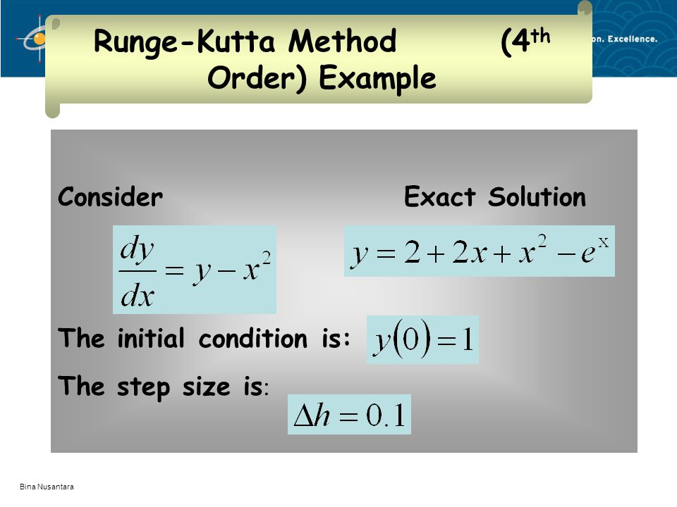 Bina Nusantara Runge-Kutta Method (4 th Order) Example Consider Exact Solution The initial condition is: The step size is :