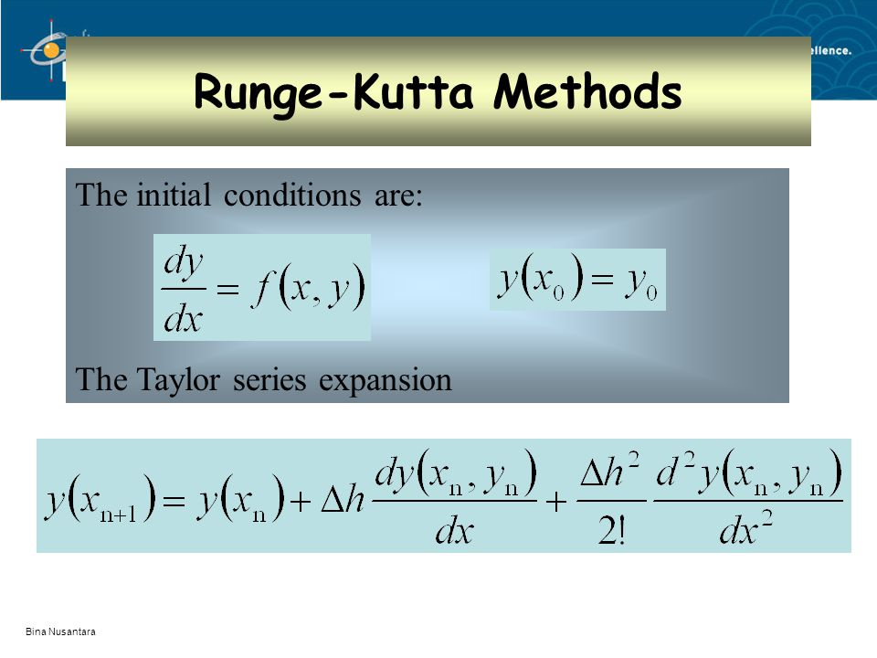 Bina Nusantara Runge-Kutta Methods The initial conditions are: The Taylor series expansion