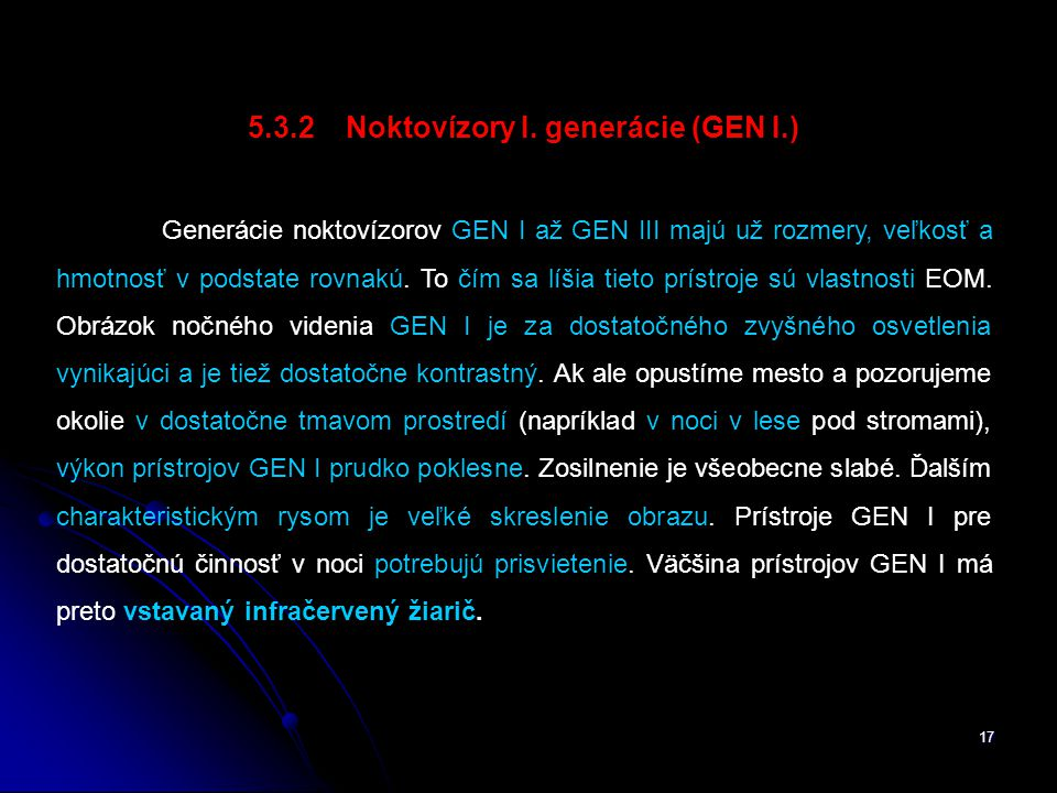 17 5.3.2 Noktovízory I.