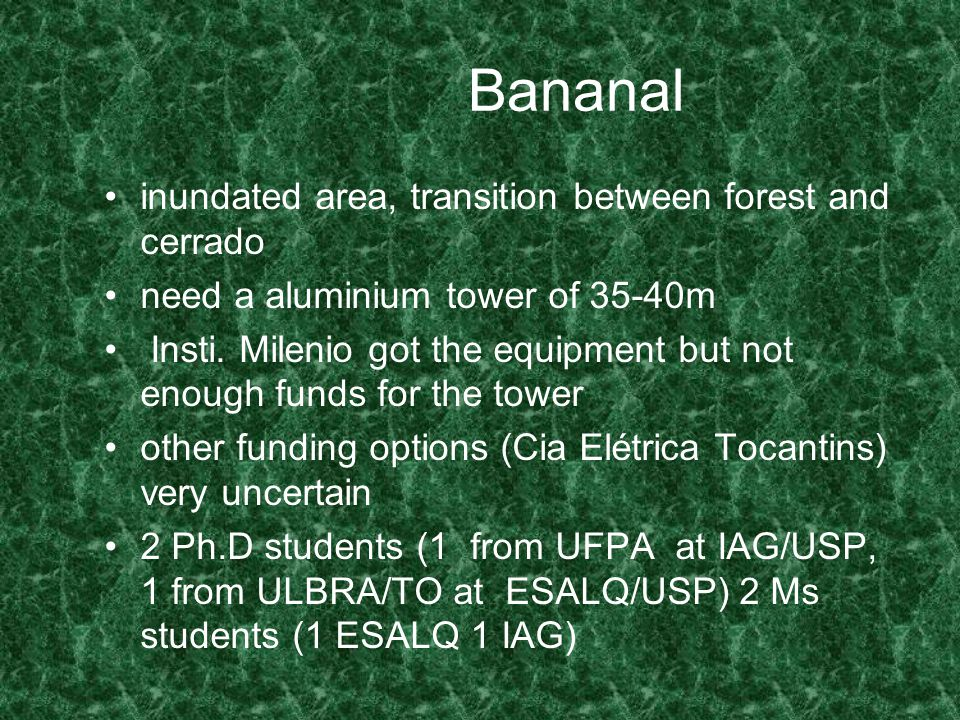 Bananal inundated area, transition between forest and cerrado need a aluminium tower of 35-40m Insti.