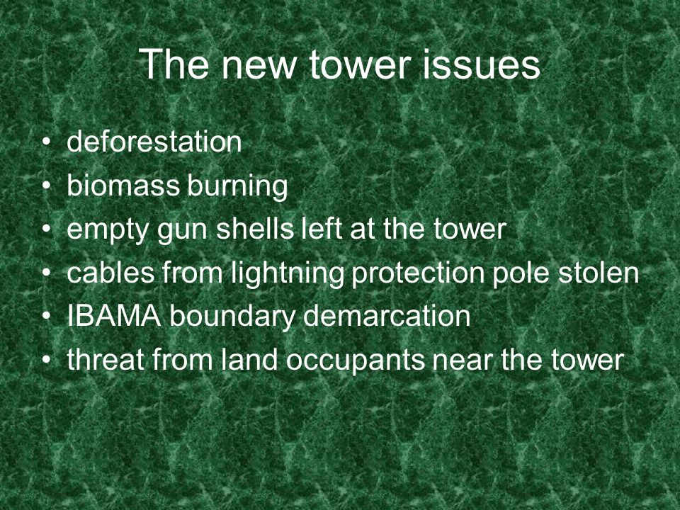The new tower issues deforestation biomass burning empty gun shells left at the tower cables from lightning protection pole stolen IBAMA boundary demarcation threat from land occupants near the tower