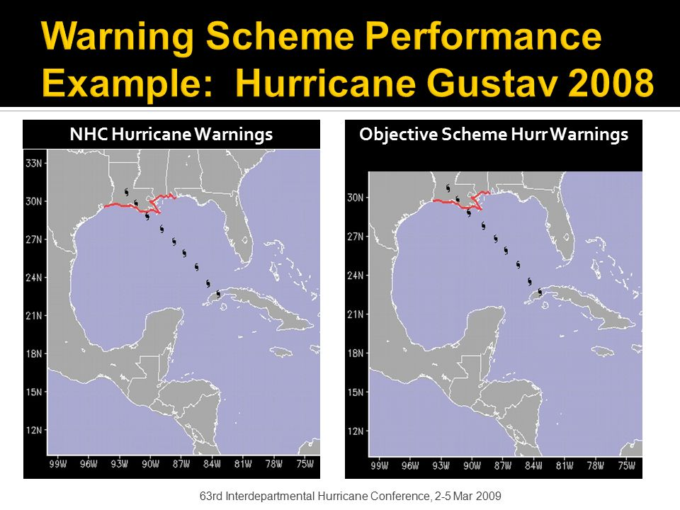 63rd Interdepartmental Hurricane Conference, 2-5 Mar 2009 NHC Hurricane Warnings Objective Scheme Hurr Warnings