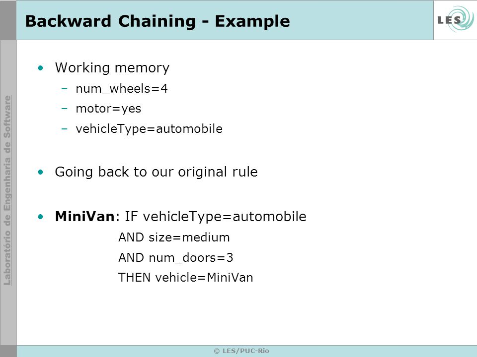 © LES/PUC-Rio Backward Chaining - Example Working memory –num_wheels=4 –motor=yes –vehicleType=automobile Going back to our original rule MiniVan: IF vehicleType=automobile AND size=medium AND num_doors=3 THEN vehicle=MiniVan