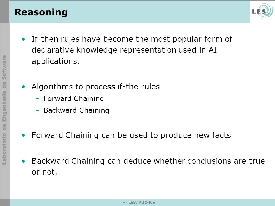 © LES/PUC-Rio Forward Chaining It is one of the two main methods of reasoning when using inference rules.