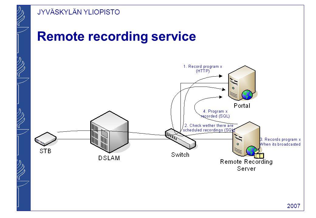 JYVÄSKYLÄN YLIOPISTO 2007 Remote recording service