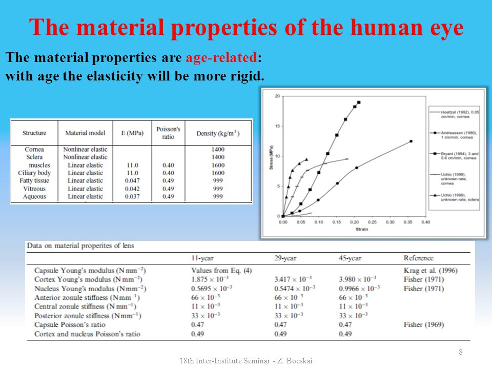 8 The material properties of the human eye The material properties are age-related: with age the elasticity will be more rigid.